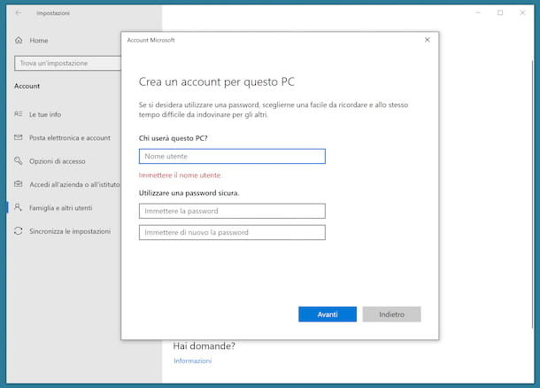 Modificare account Windows 10