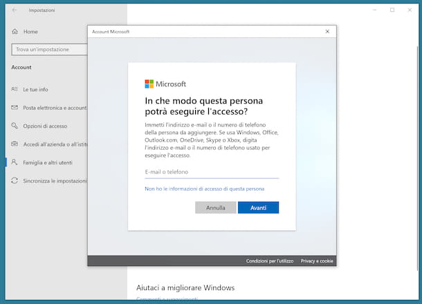 Cambiare account d'accesso a Windows 10