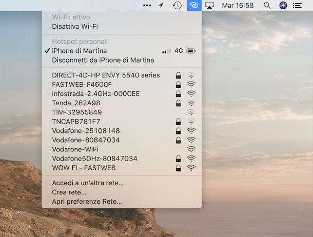 Mac collegato all'hotspot dell'iPhone