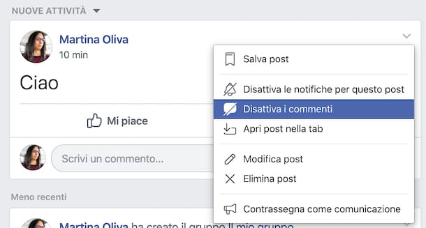 Post gruppi Facebook