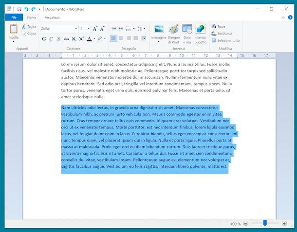 Copia testo con tastiera