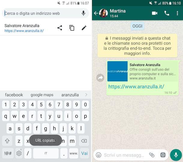 Copia e incolla link Android