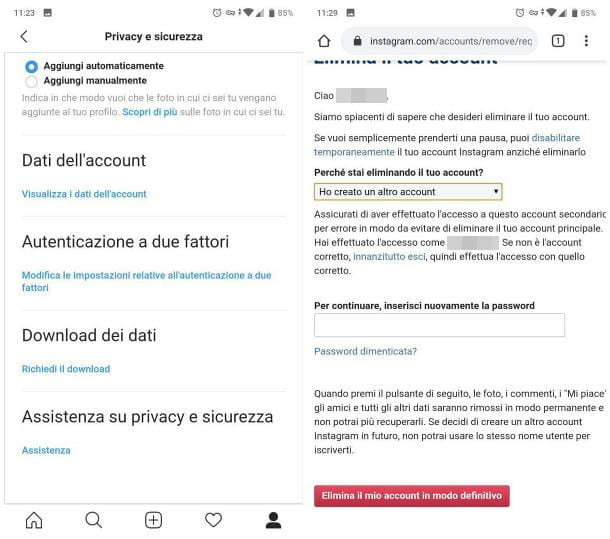 Come eliminare un profilo Instagram dal telefono