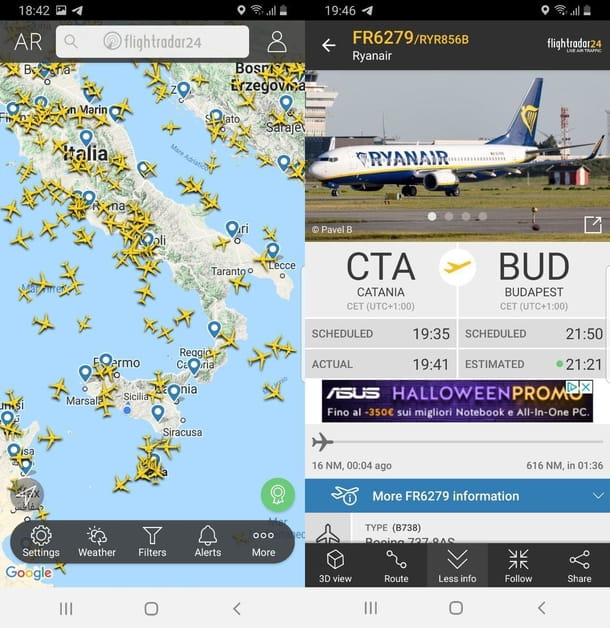 App per voli in tempo reale Flightradar24