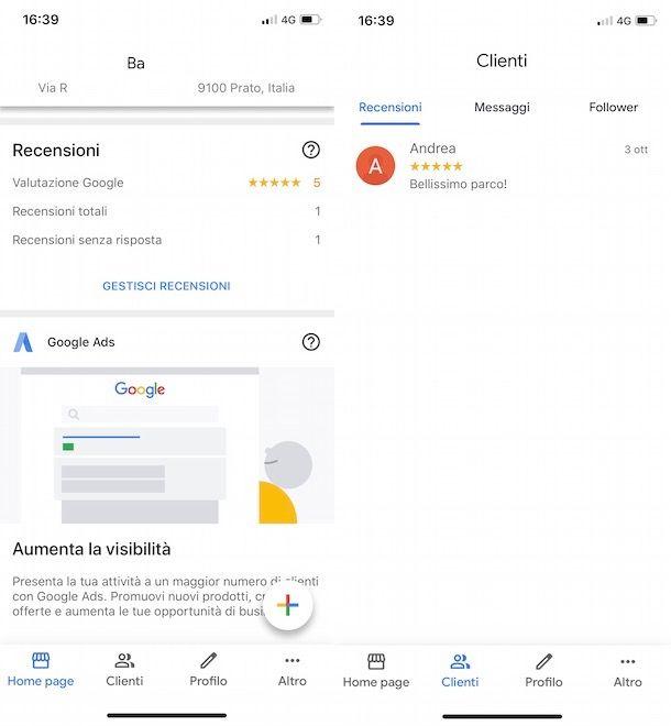 Vedere le mie recensioni su Google My Business