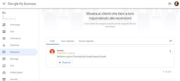 Vedere le mie recensioni su Google My Business da computer