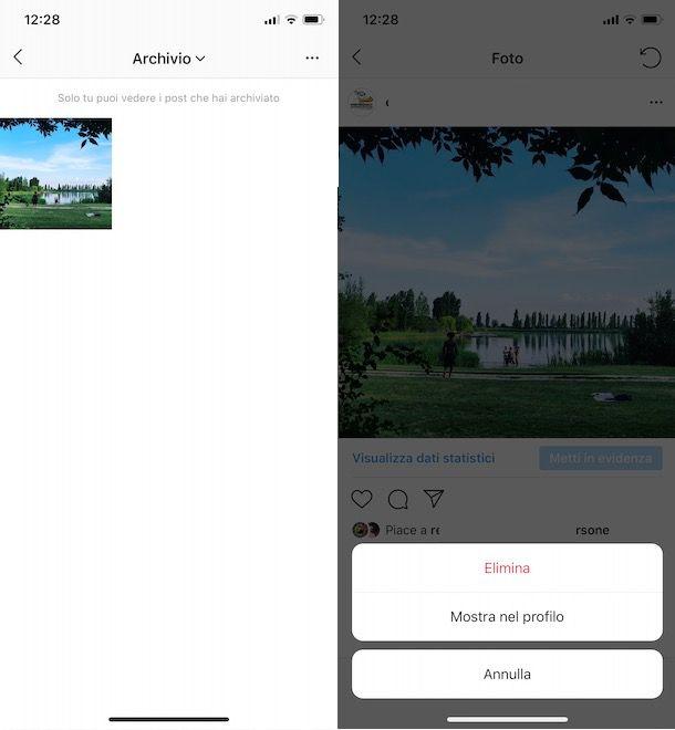 Mostrare post archiviati Instagram su iPhone