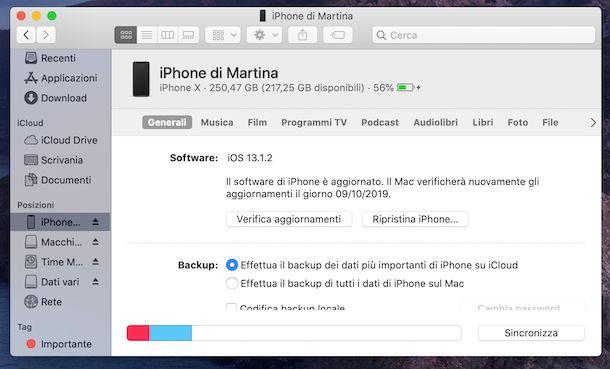 Sincronizzazione dispositivi macOS Catalina