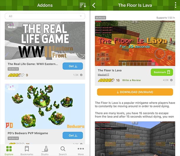 Addons for Minecraft iOS