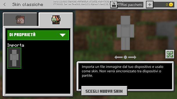Minecraft PE modifica skin