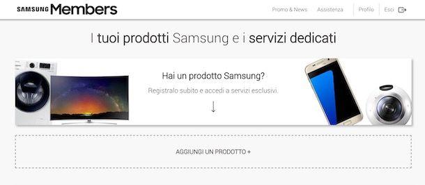 Registrare un nuovo prodotto Samsung