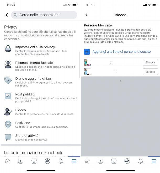 Vedere profilo bloccati su Facebook da app