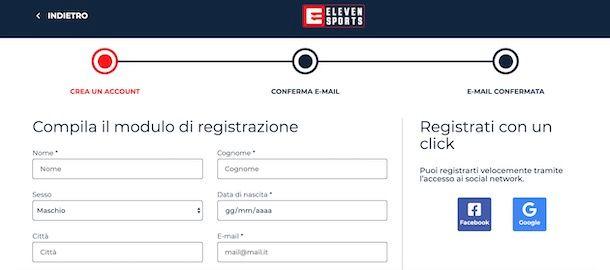 Registrazione Eleven Sports da computer