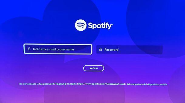 Accesso Spotify su PS4