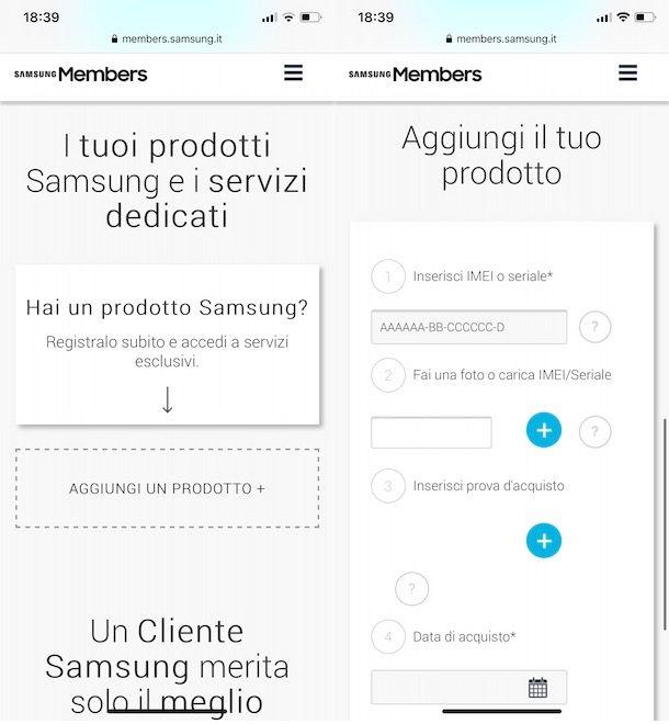 Registrare un prodotto Samsung da a smartphone e tablet