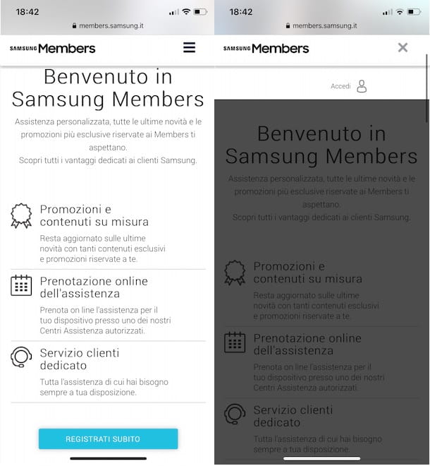 Accedere a Samsung Members