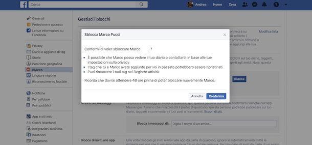 Sbloccare profilo su Facebook