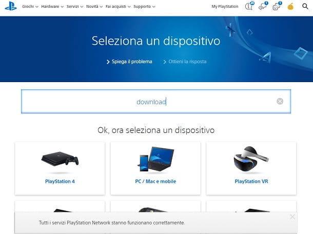 Risolvere problemi del download di giochi PS4