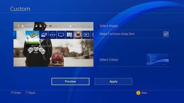 Procedura per il cambio di sfondo PS4