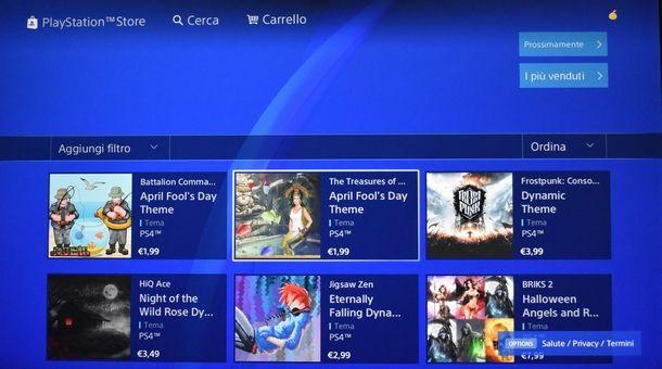 Impostare uno sfondo scaricato dal PS Store di PS4