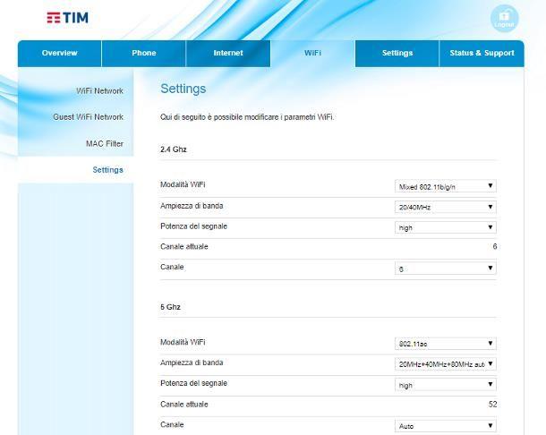 Come cambiare canale WiFi modem TIM