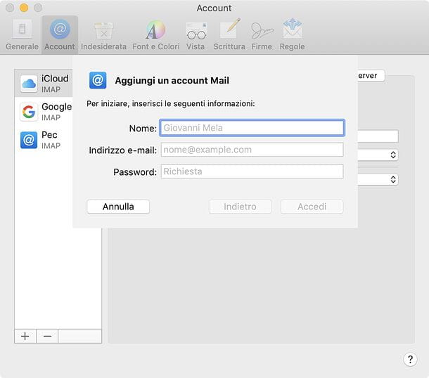 Configurazione Apple Mail