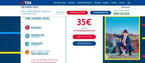 Offerte ADSL senza linea telefonica TIM