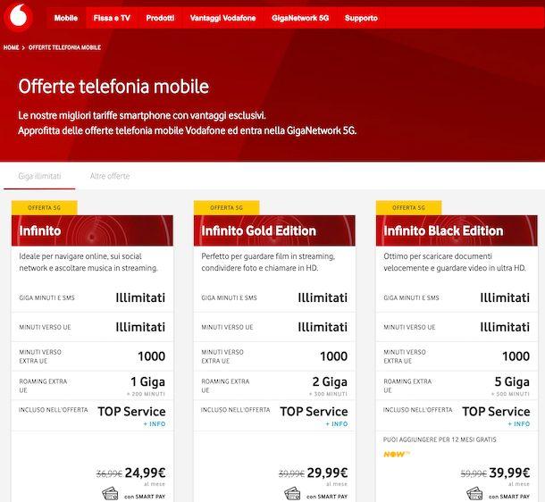 Vodafone Infinito mobile