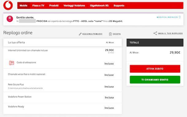 Test copertura Vodafone