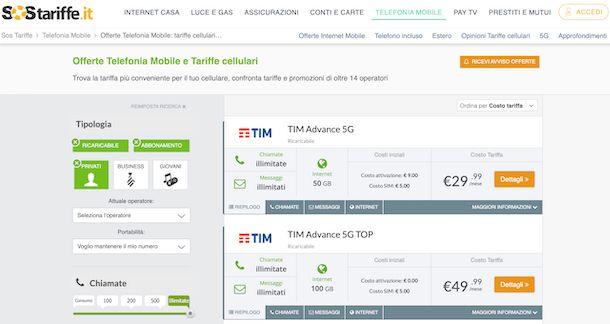 SOS Tariffe rete mobile