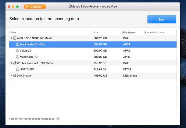 Asistente de recuperación de datos de EaseUS para Mac
