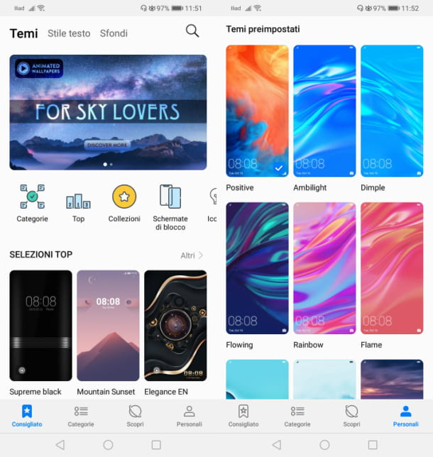 App Temi su Huawei