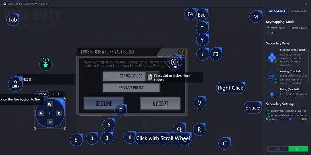 Cambia comandi COD Mobile PC