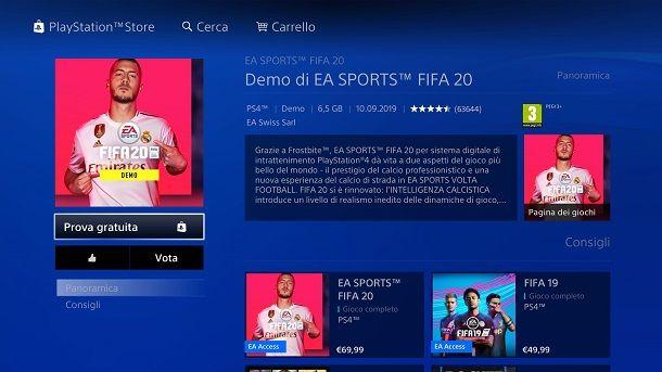 Come scaricare demo FIFA su PS4