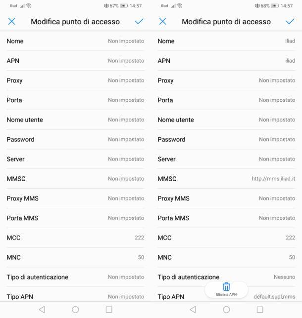 Configurazione manuale APN Iliad su Android