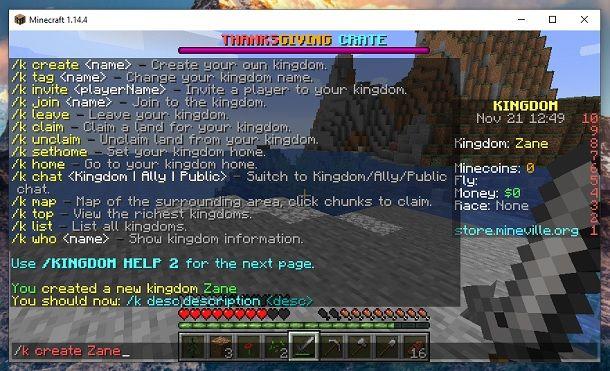Crea regno Minecraft