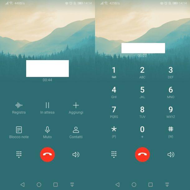 Digitare i numeri sul dialer durante una chiamata