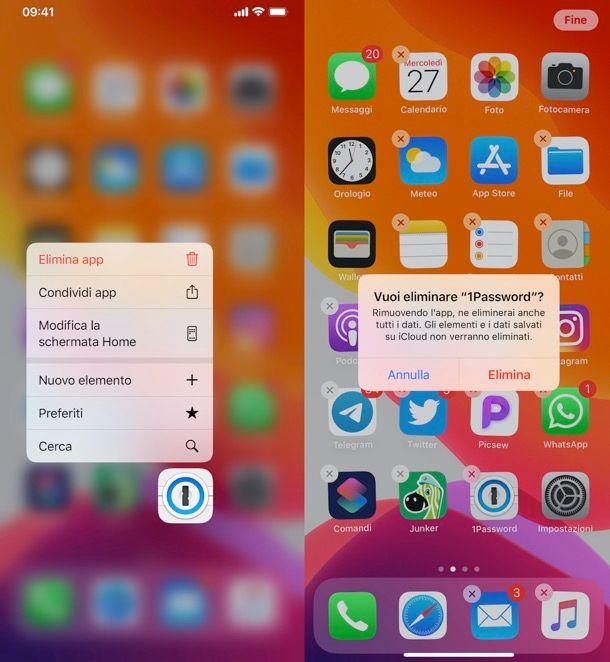 Disinstallazione app iPhone