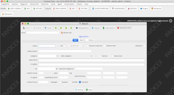 Installazione Invoicex