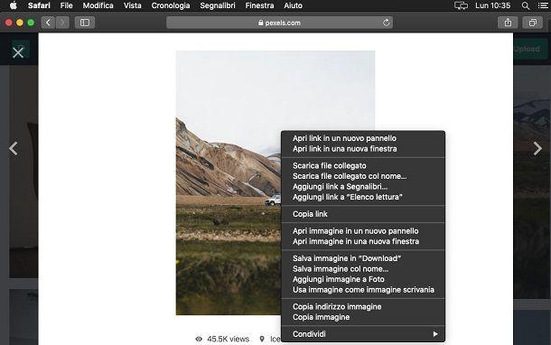 Salvare immagini da Internet su Mac