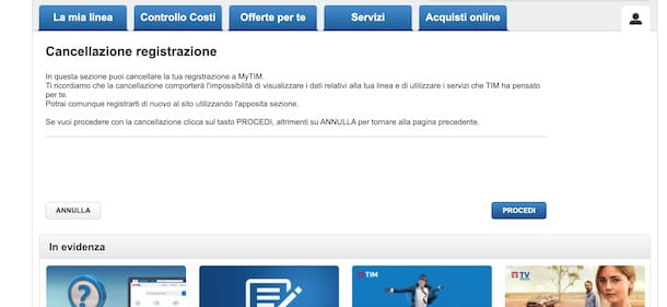 Cancellare account MyTIM Mobile da computer