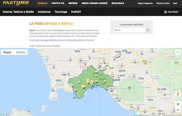Mappa copertura Fastweb