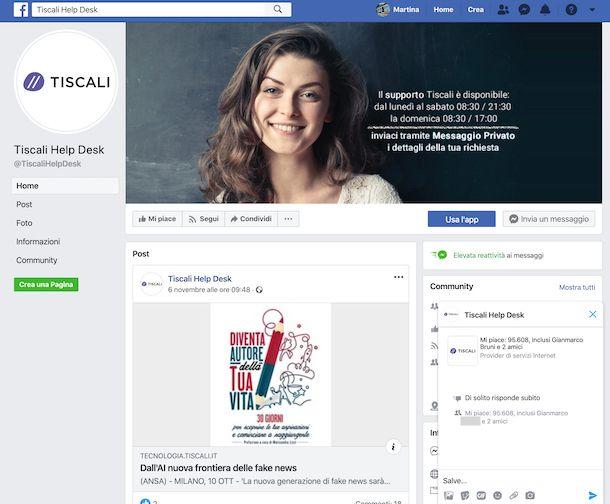Pagina Facebook di Tiscali