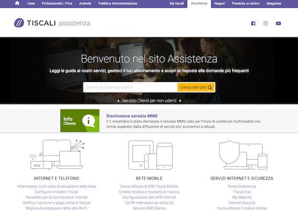 Assistenza online Tiscali
