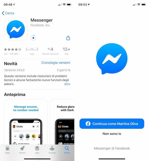 Messenger su iPhone