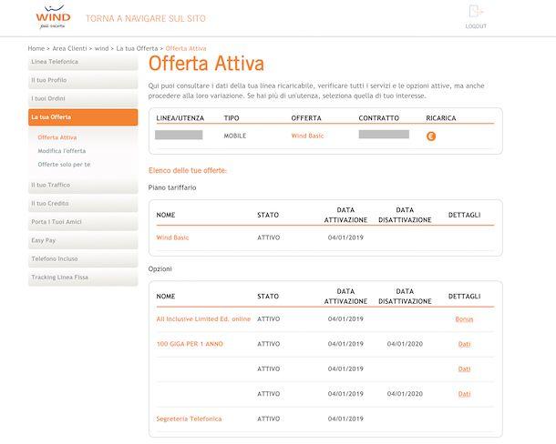 Area clienti online Wind
