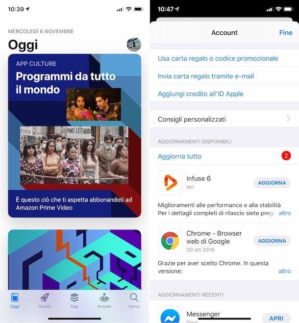 Aggiornamenti App Store iPhone