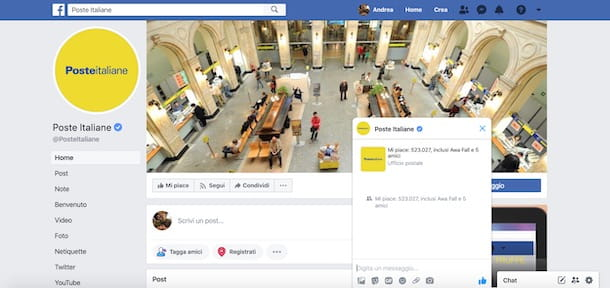 Assistenza Facebook Poste Italiane