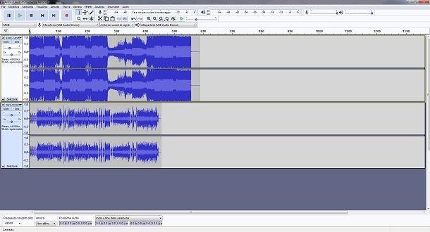 Regolare le due tracce del mashup su Audacity
