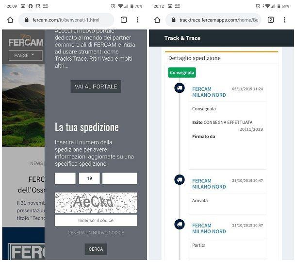 Come rintracciare una spedizione FERCAM da smartphone e tablet